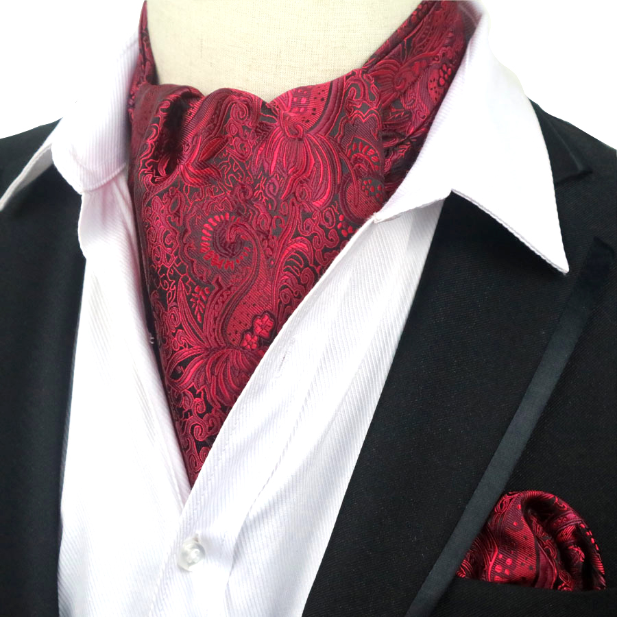 YISHLINE Men Luxury Silk Ascot Tie Set Man Cravat Tie & Handkerchief Set Floral Paisley Dots Pocket Square Set For Wedding Party