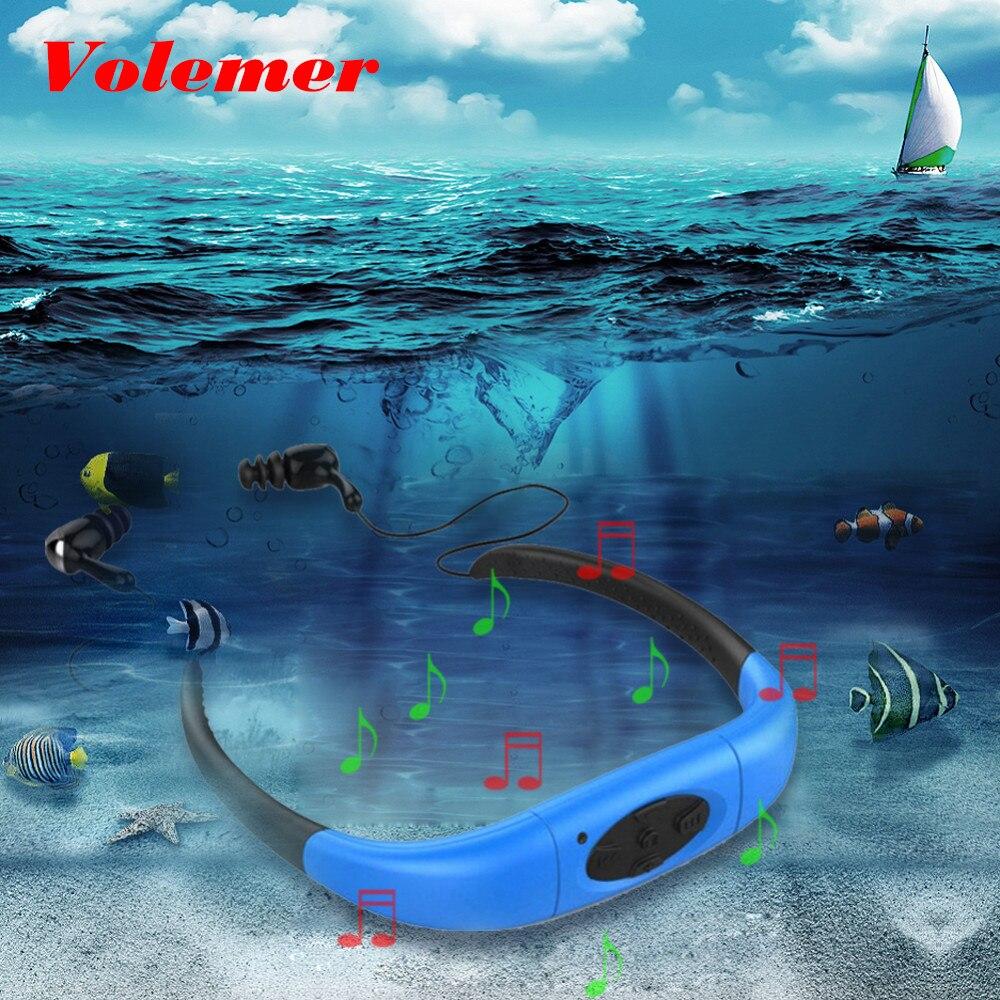 Volemer 100% Wasserdicht 4 gb 8 gb MP3 Player Kopfhörer Musik Media Player Neckband Schwimmen mit FM Radio Stereo Audio kopfhörer