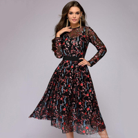 Sexy Women Floral Embroidery knee-length Dress Sheer Mesh Summer Boho A-line Dress See-through Black Dress 2018 Vestidos