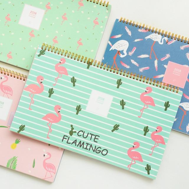 Nouveau 2018 Mignon Flamingo Creative Grand Calendrier BRICOLAGE Forfait Mensuel Grille Papier Planificateur Tableau