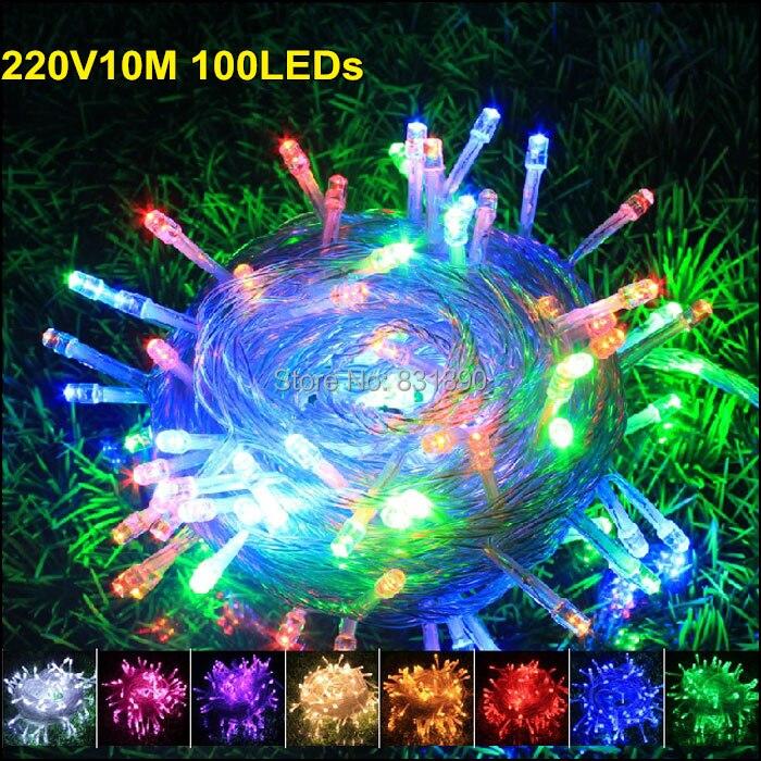 Праздник outdoorled свет шнура 10mete100leds огни 220 В 110 В Рождество Праздничная Свадебная вечеринка Аксессуары гирлянды Освещение