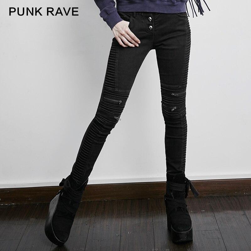 PUNK RAVE femmes gothique noir décontracté crayon pantalon Steampunk trou rue mode pantalon crâne Zip Rock crayon pantalon