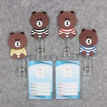 Badge Scroll Nurse Reel Cute Vertical PVC Character Scalable Colors Little Bear Exhibition ID Plastic Student Card Holder