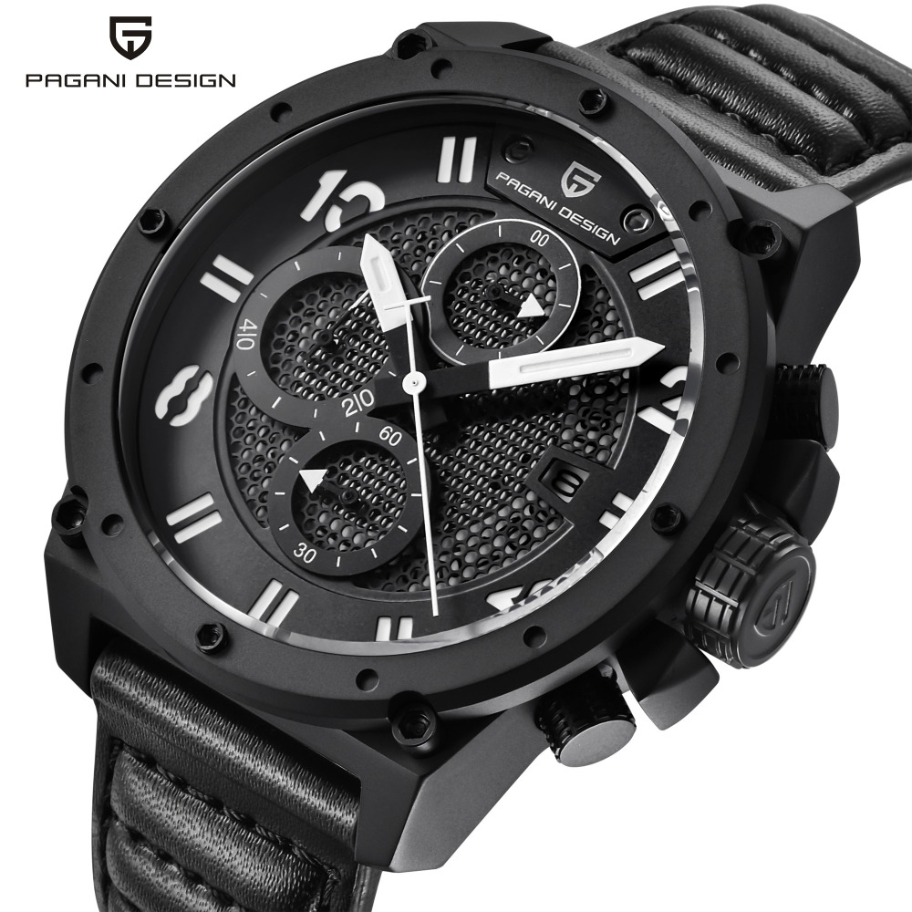 PAGANI DESIGN Chronograph Sports Watch Men Leather Quartz-watch Mens Watches Top Brand Luxury Military Clock relogio masculino luxury brand pagani design waterproof quartz watch army military leather watch clock sports men s watches relogios masculino