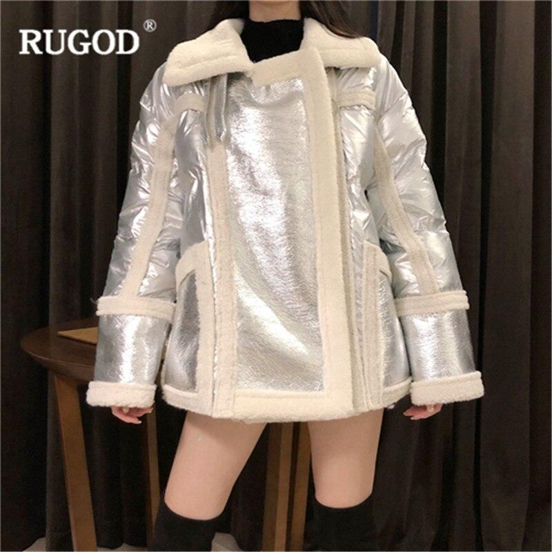 40f061771bc2 Hiver D hiver Noir Pu Agneau Femmes 2019 Streetwear Printemps argent  Manteaux Patchwork Rugod Laine Manteau Épaisse Doublure Mode ...