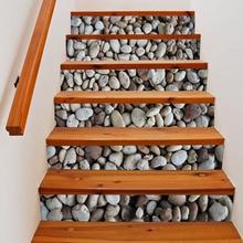 Stones 3D 6pcs DIY Steps Sticker Removable Stair Stickers Home Decor 18*100cm Landscape Sticker