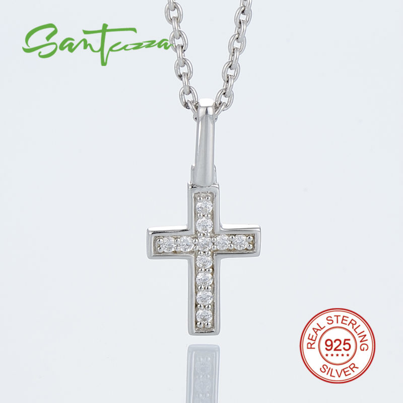 Silver small cross pendant fit for necklace chain cross pendant silver small cross pendant fit for necklace chain cross pendant white cubic zirconia pendant 925 sterling silver fashion jewelry in pendants from jewelry aloadofball Gallery