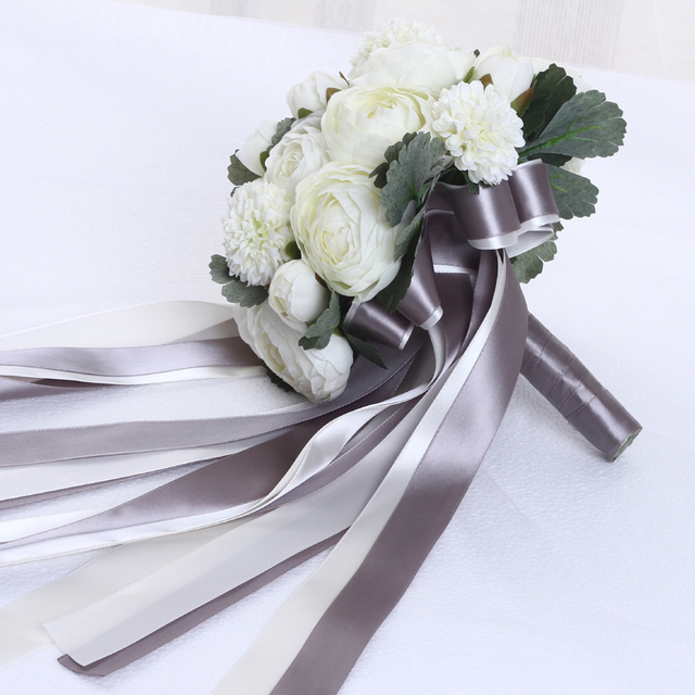 Beauty 2017 Ivory Wedding Bouquet All Handmade Bridal Flower Wedding Bouquets Artificial Rose Flower Bridal Bouquet Real Images