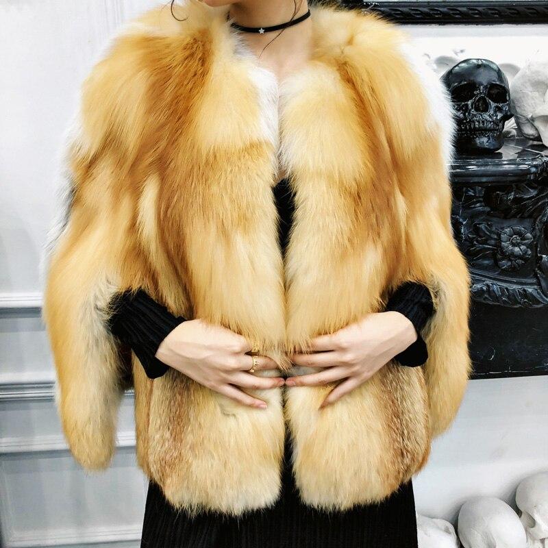 M Court Manteau Y 2018 Manteaux Importation Fourrure Renard Jaune De O cou Femmes Mode Perte Orange Fansty Châle Slim Belle FwRqfF