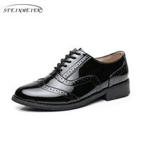 Genuine leather designer vintage flat black shoes handmade tassel oxford shoes for women 2018 spring with fur big US size 10