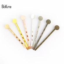 Boyute 20 pçs 7 cores grampos de cabelo base 55mm grampo de cabelo bobby com 6-8-10-12mm plana almofada de cola redonda para diy hairpins jóias fazendo