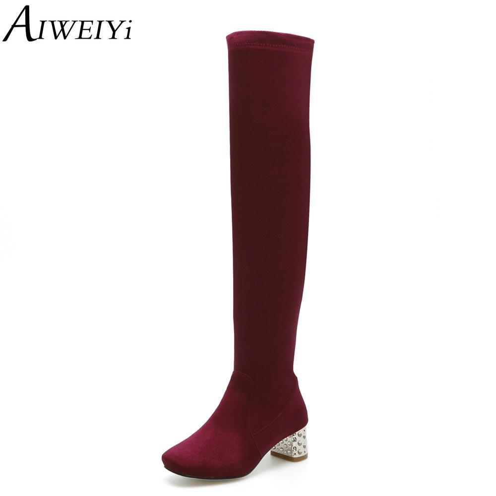 AIWEIYi chaussures femmes bottes noir sur le genou bottes Sexy femme hiver bottes fourrure chaude dame cuissardes bottes