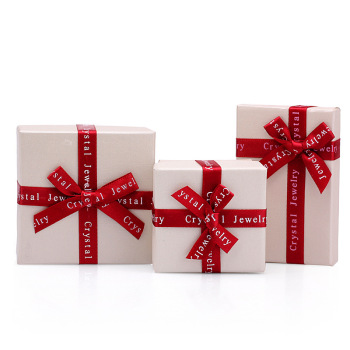 DoreenBeads Jewelry Boxes Paper Beige Color Red Ribbon Bowknot For Jewelry Packing Display Gift Necklace Earring Box, 1 Piece 10pcs brown kraft paper box gift packing box gift boxes for jewelry wedding necklace jewelry packaging display storage boxes