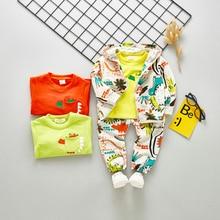 DIIMUU 3Pcs Toddler Infant Children Boys Clothing Hoodies Cartoon Dinosaur Zipper Long Sleeved Coats Solid T-Shirts Pants Sets