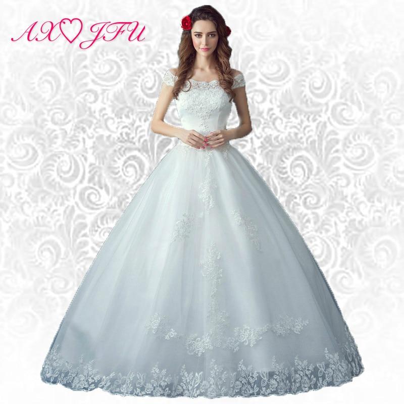 AXJFU kwiat koronki księżniczka łódka szyi suknia ślubna na ramię księżniczka Bride panna młoda suknia ślubna łuk 5956 S