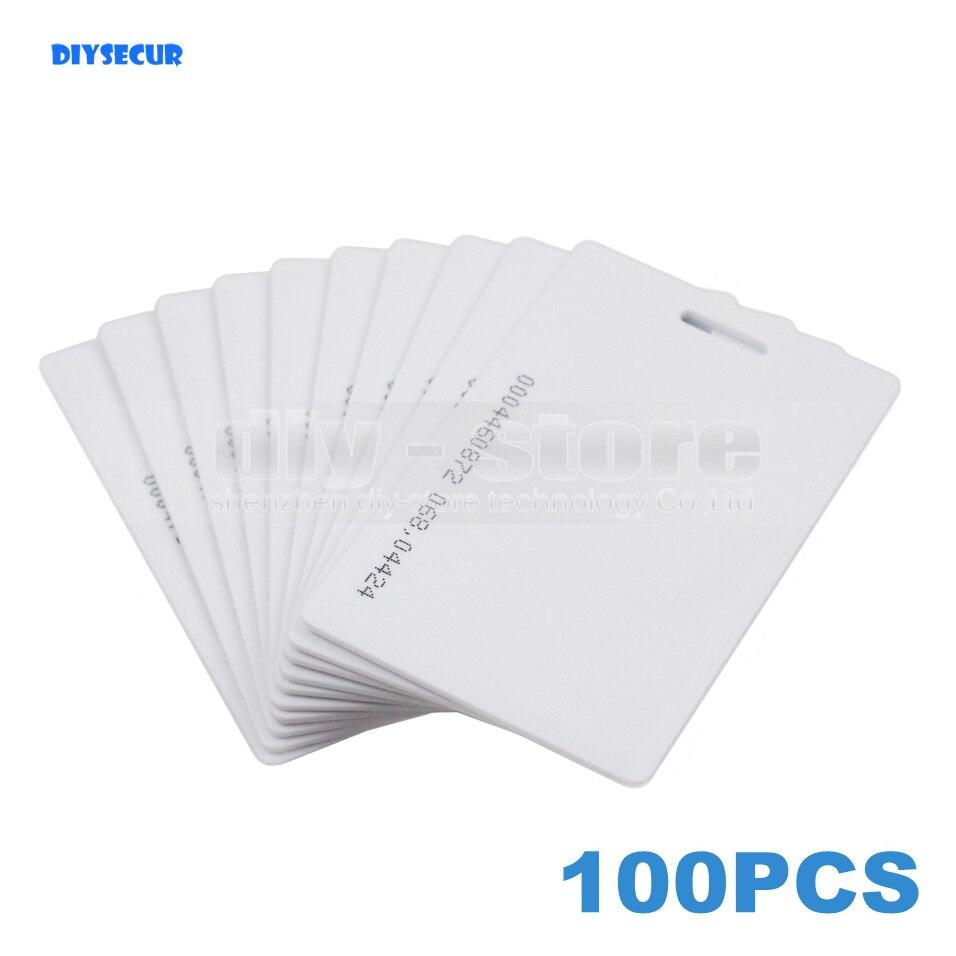 DIYSECUR 100pcs Thick Proximity Card 125Khz RFID EM ID Card for Access Controller Keypad Reader Time