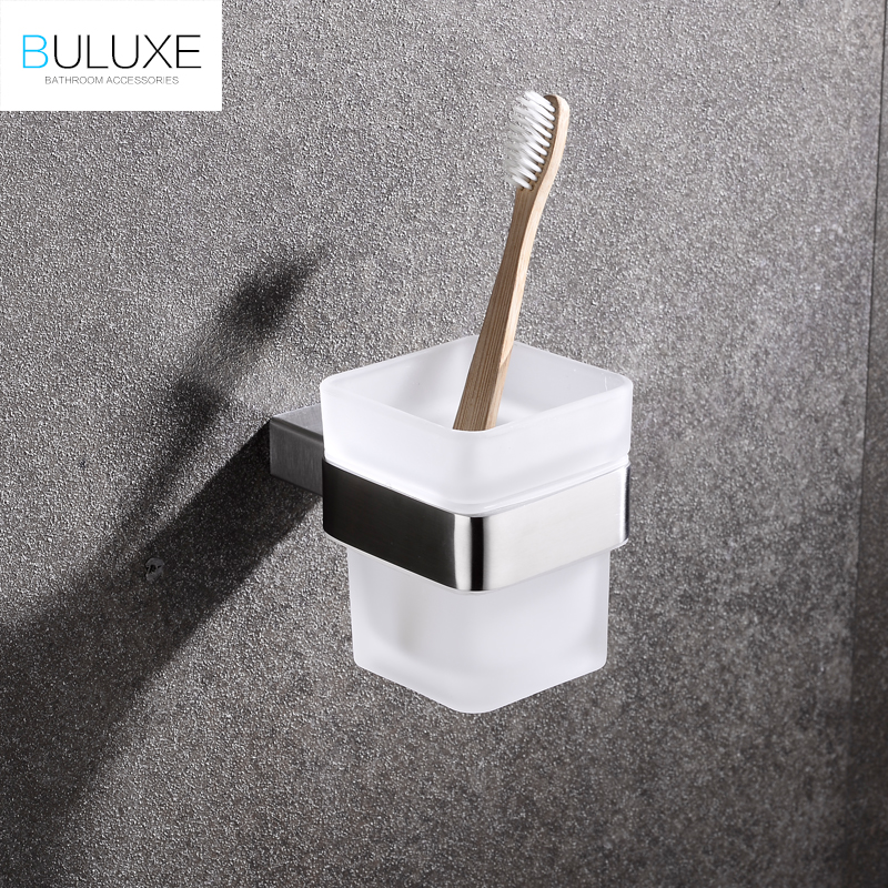 BULUXE Luxury Toothbrush Holder Brushed Finish Stainless Steel Tumbler Holder With Cup Wall Mount Bathroom Accessories IFG721 stainless steel double tumbler toothbrush holder cup bracket set wall mounted