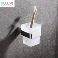 BULUXE Luxury Toothbrush Holder Brushed Finish Stainless Steel Tumbler Holder With Cup Wall Mount Bathroom Accessories IFG721