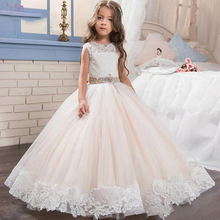 2019 lovely Flower Girl pageant Dress White Lace appliques for Wedding Beaded Children's Birthday ball gown недорого