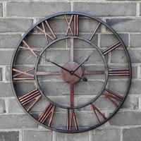 Новый 3D Круговой Ретро Римский 47 см кованый пустой Железный винтажный большой немой декоративный настенные часы на стену украшение для дом...