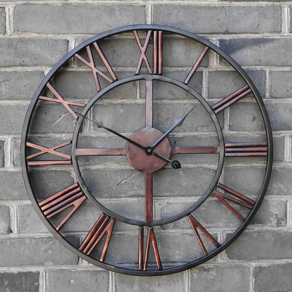 New 3D Circular Retro Roman 47cm Wrought Hollow Iron Vintage Large Mute Decorative Wall Clock On The Wall Decoration For Home gold metal duvar saati
