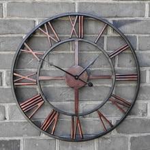 Новые 3D Круглые ретро римские 47 см кованые полые железные винтажные большие немые декоративные настенные часы на стену украшения для дома
