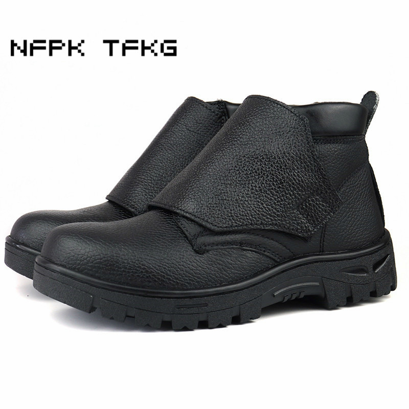 Big Size Men Leisure Steel Toe Caps Work Safety Electric Welding Shoes Soft Leather Platform Tooling Ankle Boots Autumn Winter