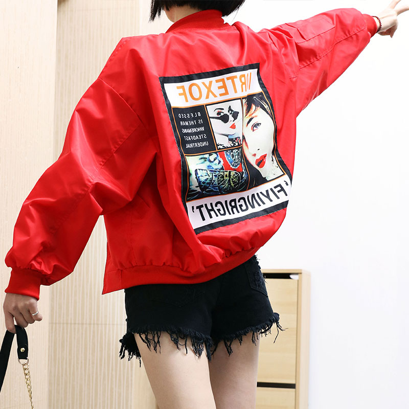 Carol Diaries Vintage   Basic     Jacket   Coat Women Autumn 2019 Street Bomber   Jacket   Baseball   Jacket   Jaqueta Casaco Feminina Red Black