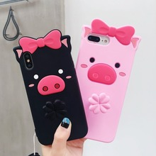 For iPhone X 7 8 Plus Case 3D Cute Cartoon Butterfly pig Liquid Quicksand Cases 6 6S Silicon Soft TPU Fundas