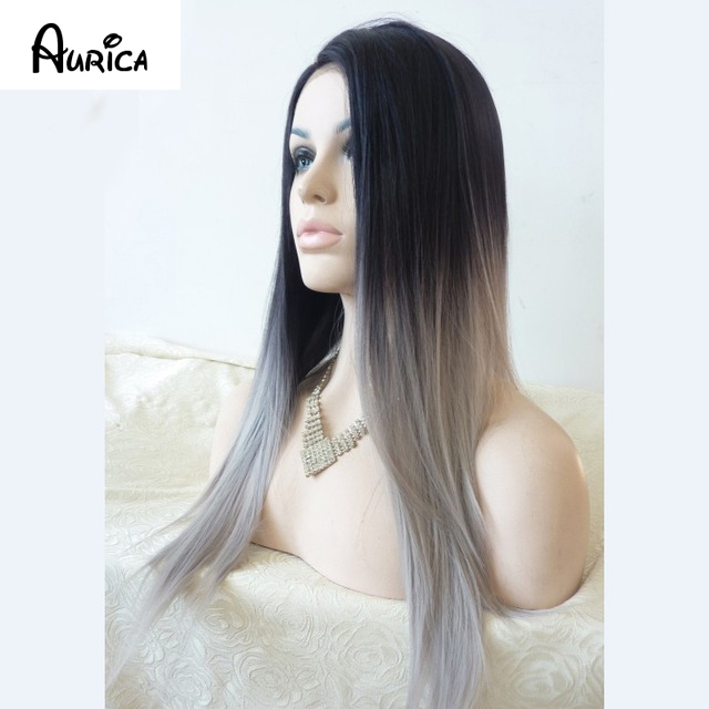 Aurica Silk Straight Ombre Silver Grey Natural Black Roots Heat Resistant Synthetic Hair Lace Front Wigs For Women