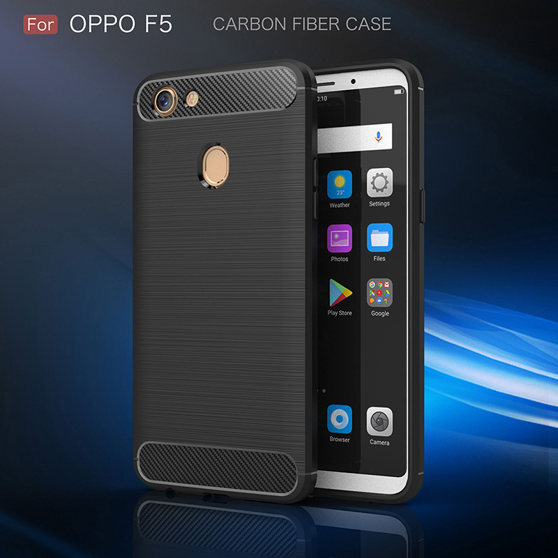 Carbon Fiber Silicone Case For OPPO F5 Kasus Sarung Funda Coque Rugged Armor Tpu Brushed Cover For OPPO F5 Etui Tok Kryt