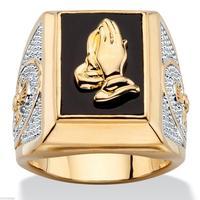 Лидер продаж 18KT GOLD Filled молитвы руки вырезать оникс мужское кольцо Размер: 8 15