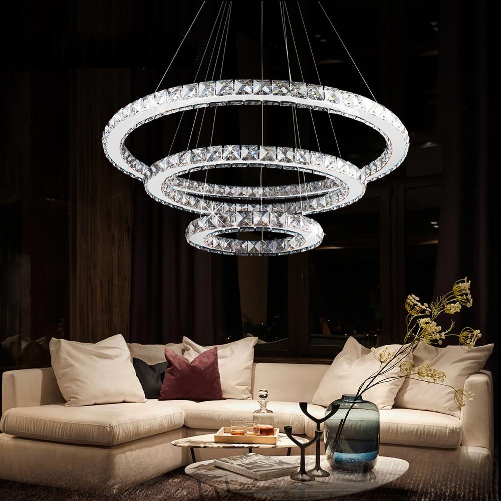 LED Crystal Chandelier Modern Ring Hanging Kitchen Lamp 3/2/1 Circle Dining Room Living Room Light Fixture