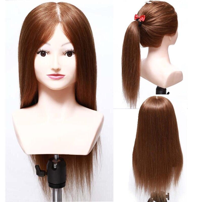 20 дюймов 100% человеческих волос манекен головы с плеча парикмахер манекен головы парикмахерские манекены для волос Salon