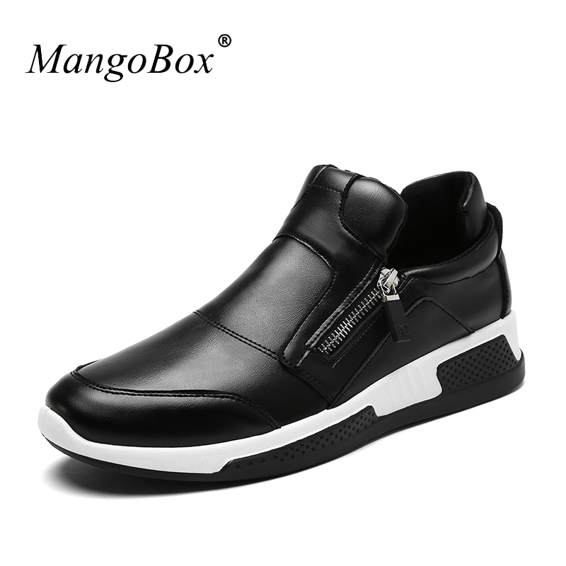 2018 Casual Shoes Men Zip Spring Autumn Sneakers For Mens Anti-Slippery Platform Male Shoes PU Leather Mans Footwear 2017 spring autumn fashion mens skinny jean overalls casual bib jeans for men male ripped denim jumpsuit suspenders bibs 010802