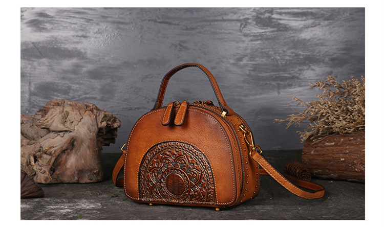 18 Luxury Women Genuine Leather Handbags Ladies Retro Elegant Shoulder Messenger Bag Cow Leather Handmade Womans Bags 8