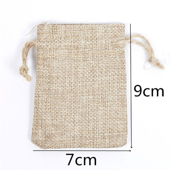 7x9cm Handmade Drawstring packaging burlap Wedding Party Christmas Gift Bags pouches jute Bags Jewelry Bag 100pcs/lot