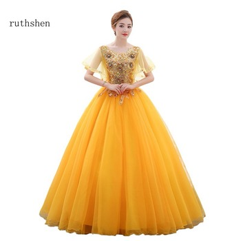 ruthshen Gold Sweet 15 16 17 Quinceanera Dresses Cheap Cap Sleeves Appliques Long Organza Prom  Party Dresses For Special Events