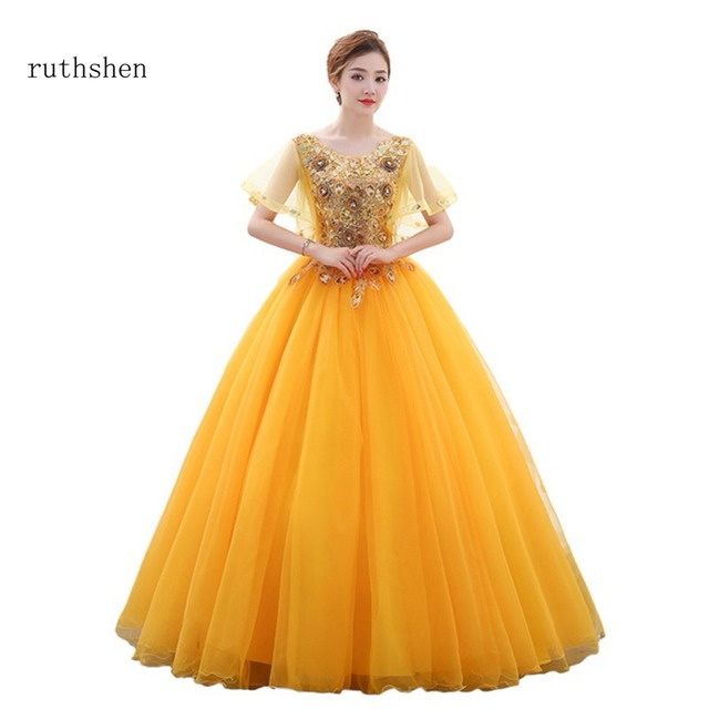96f6c6a61d5 ruthshen Gold Sweet 15 16 17 Quinceanera Dresses Cheap Cap Sleeves  Appliques Long Organza Prom Party Dresses For Special Events