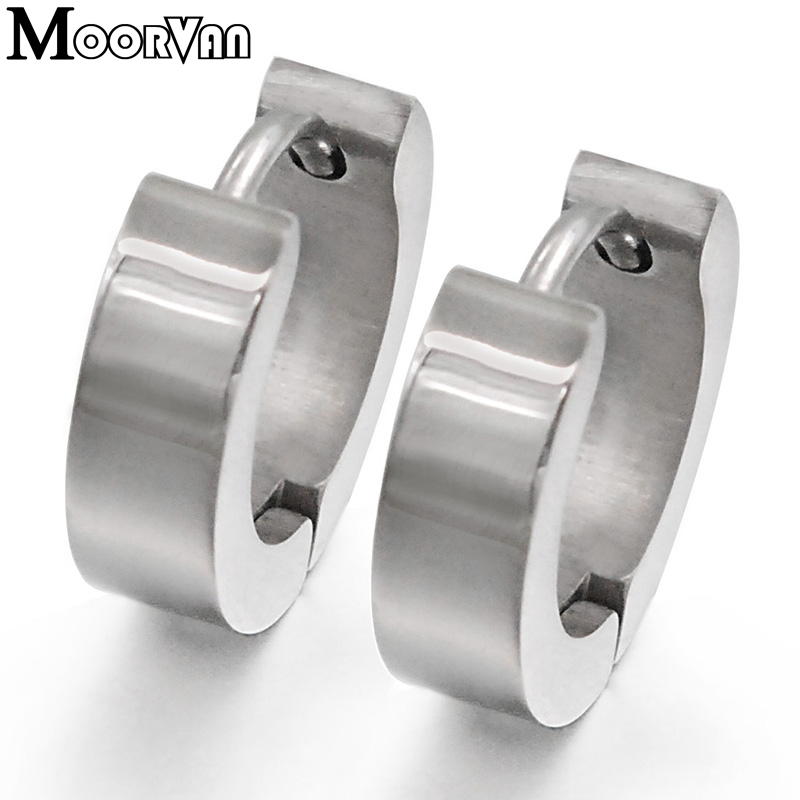 Moorvan stainless steel stud earrings for women trendy punk 2016 high quality round smooth polishing jewelry men earring VE412