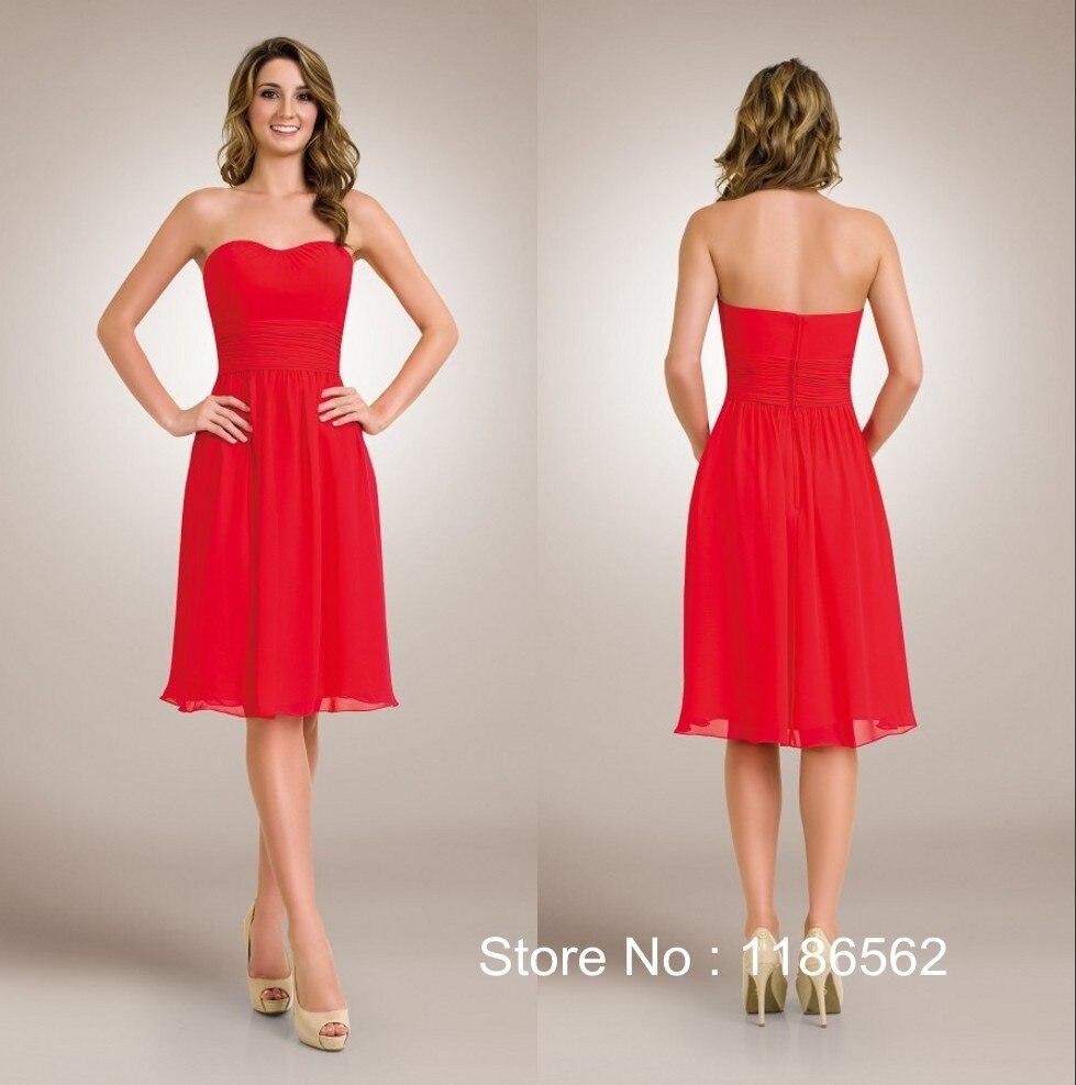 Popular red knee length bridesmaid summer dress buy cheap red knee red knee length bridesmaid summer dress ombrellifo Images