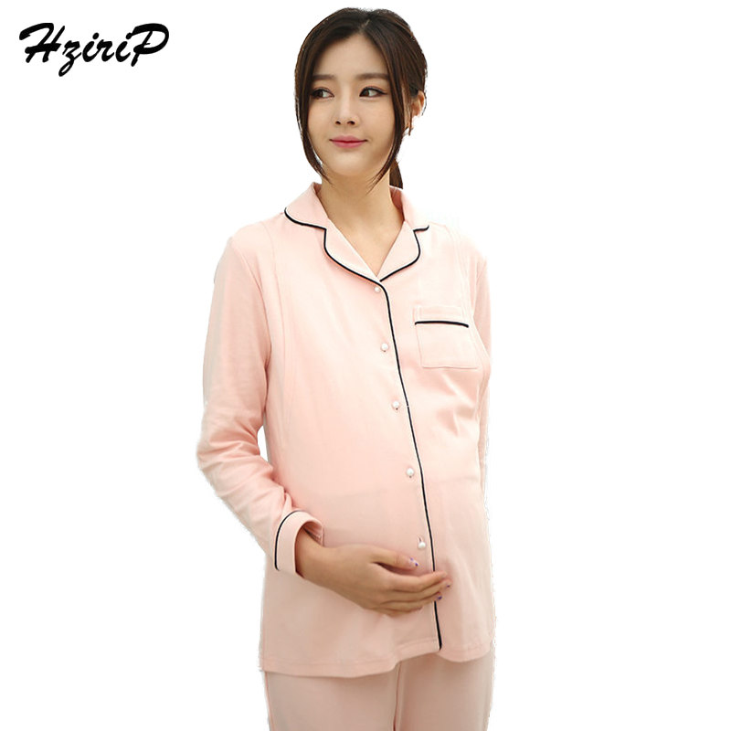 HziriP Spring Summer Pregnant Women Onwear With Cotton Solid Pajamas Postpartum Nursing Clothes Maternity Long Sleeve Suit New