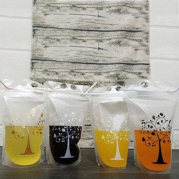 500pcs 450ml Transparent Self-sealed Plastic Beverage Bag DIY Drink Container Drinking Bag Fruit Juice Food Storage Bag lin2850