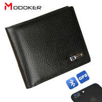Modoker Smart Wallet Mens Genuine Leather High Quality Anti Lost Intelligent Bluetooth Purse Male Card Holders Suit for Business