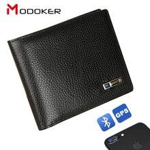 Modoker portefeuille Intelligent pour hommes, en cuir véritable, porte monnaie Intelligent avec Bluetooth, bonne qualité, Anti perte, porte cartes, costume pour Business