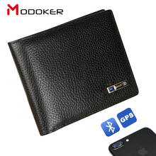 Умный мужской кошелек Modoker из натуральной кожи, высококачественный Умный кошелек с Bluetooth и защитой от потери, мужской деловой костюм с держателем для карт