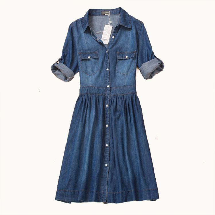 High Quality 2016 Spring and Autumn Clothing Plus Size Women Denim Dress Elegant Slim Cowboy Casual Dress