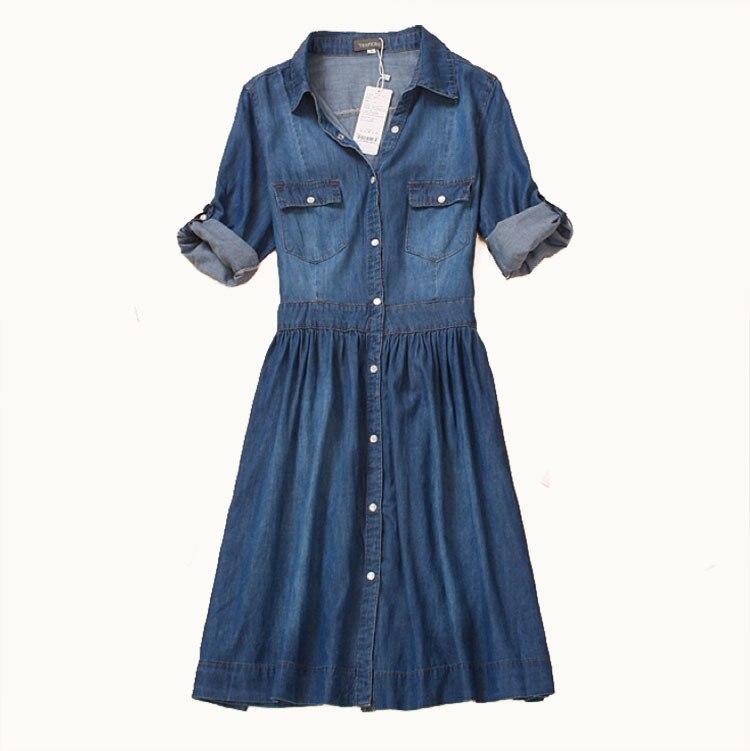 High Quality 2020 Spring and Autumn Clothing Plus Size Women Denim Dress Elegant Slim Cowboy Casual Dress(China)