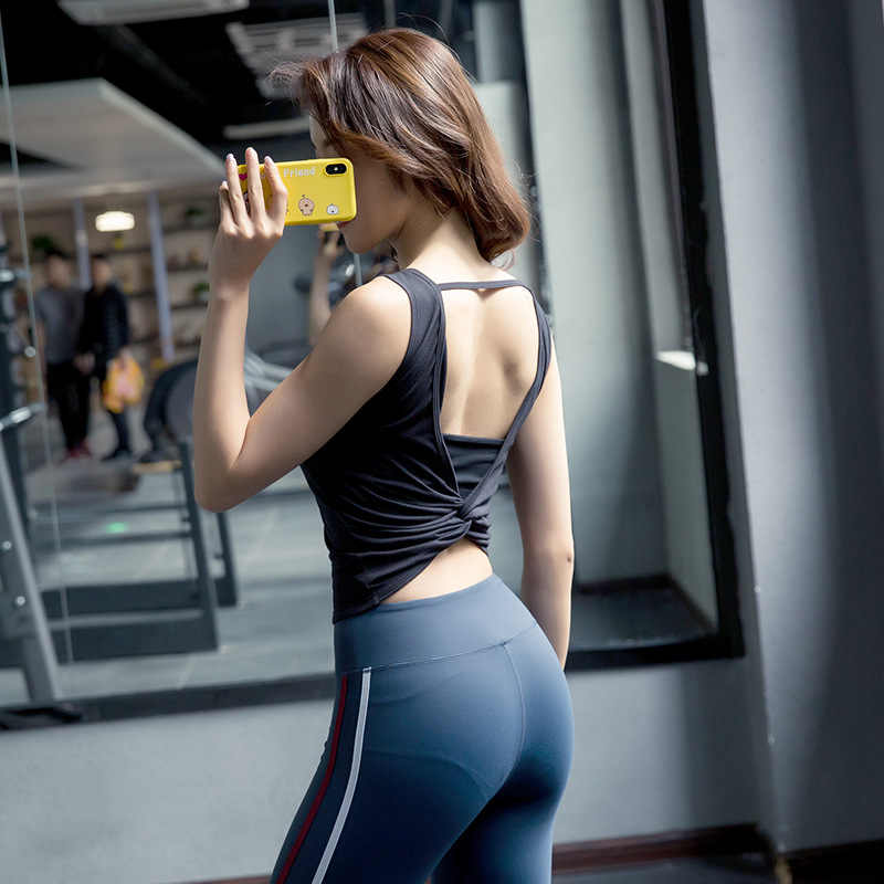 2019 Summer Sexy Backless Women Tank Tops Female Dry Quick Fitness Solid Vest Singlet For Exercise Women's Workout T-shirts