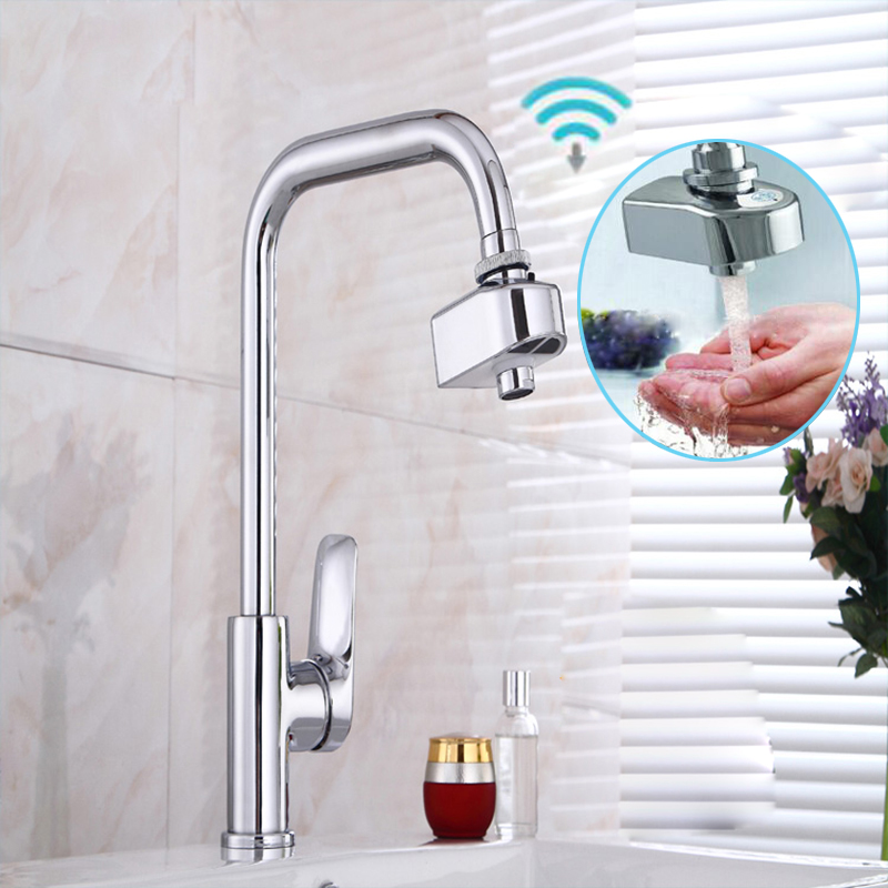 US $28.41 37% OFF|Automatic Infrared Sensor Faucet Kitchen Basin  Accessories Saving Water Induction Nozzle Filter Adapter Hands Free Battery  Power-in ...